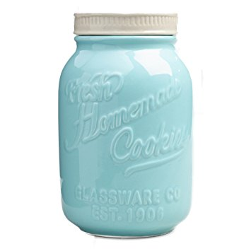 Click here to buy Mason Jar Ceramic Cookie Jar Blue.