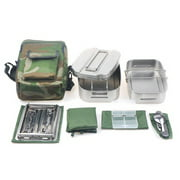 Canteen Cookware Set Camping Canteen Mess Kit Stainless Steel Canteen with Mess Tin Lid Spoon Fork Molle Pouch