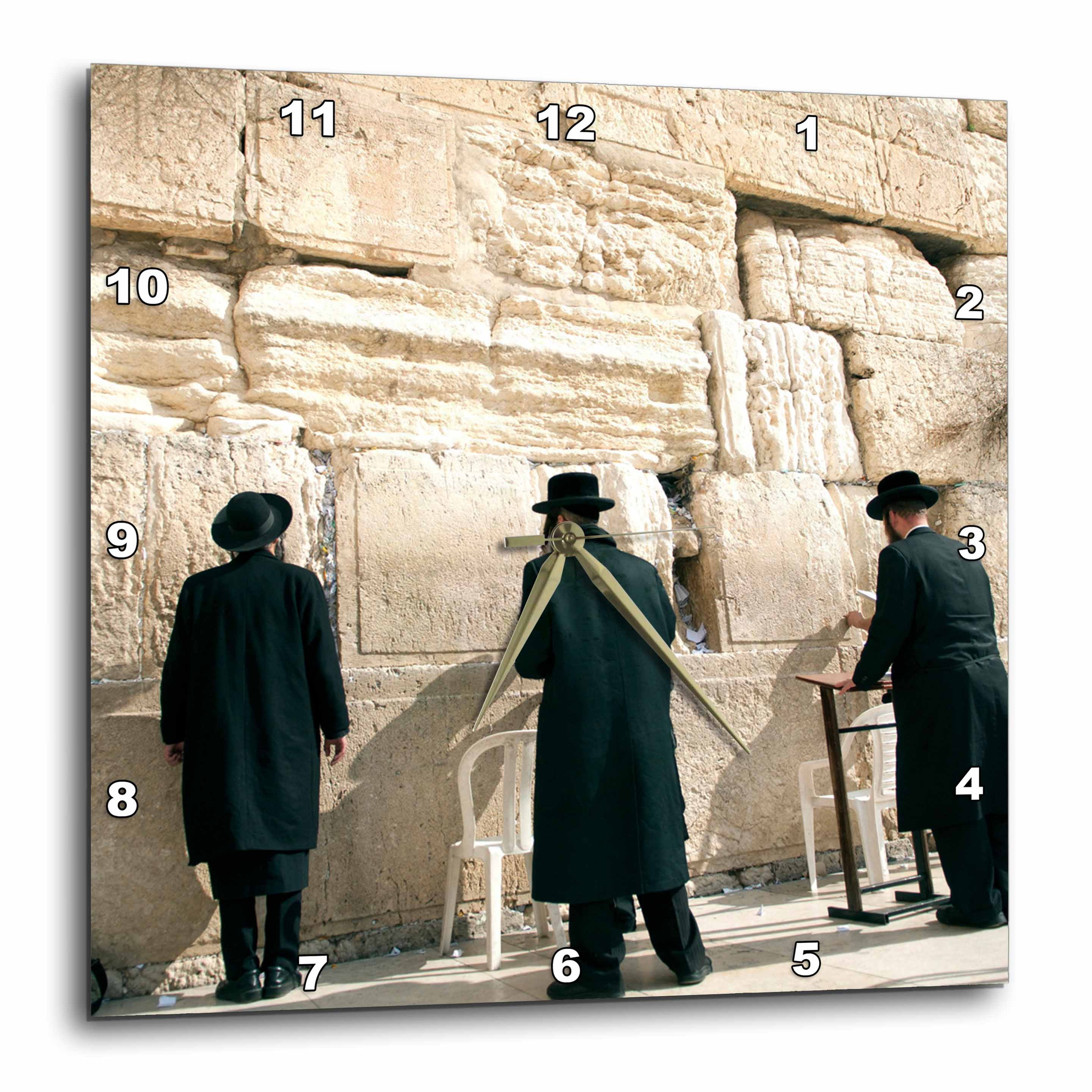 3dRose Israel, Jerusalem, Orthodox men pray, Western Wall - AS14 DNY0031 - David Noyes, Wall Clock, 13 by 13-inch