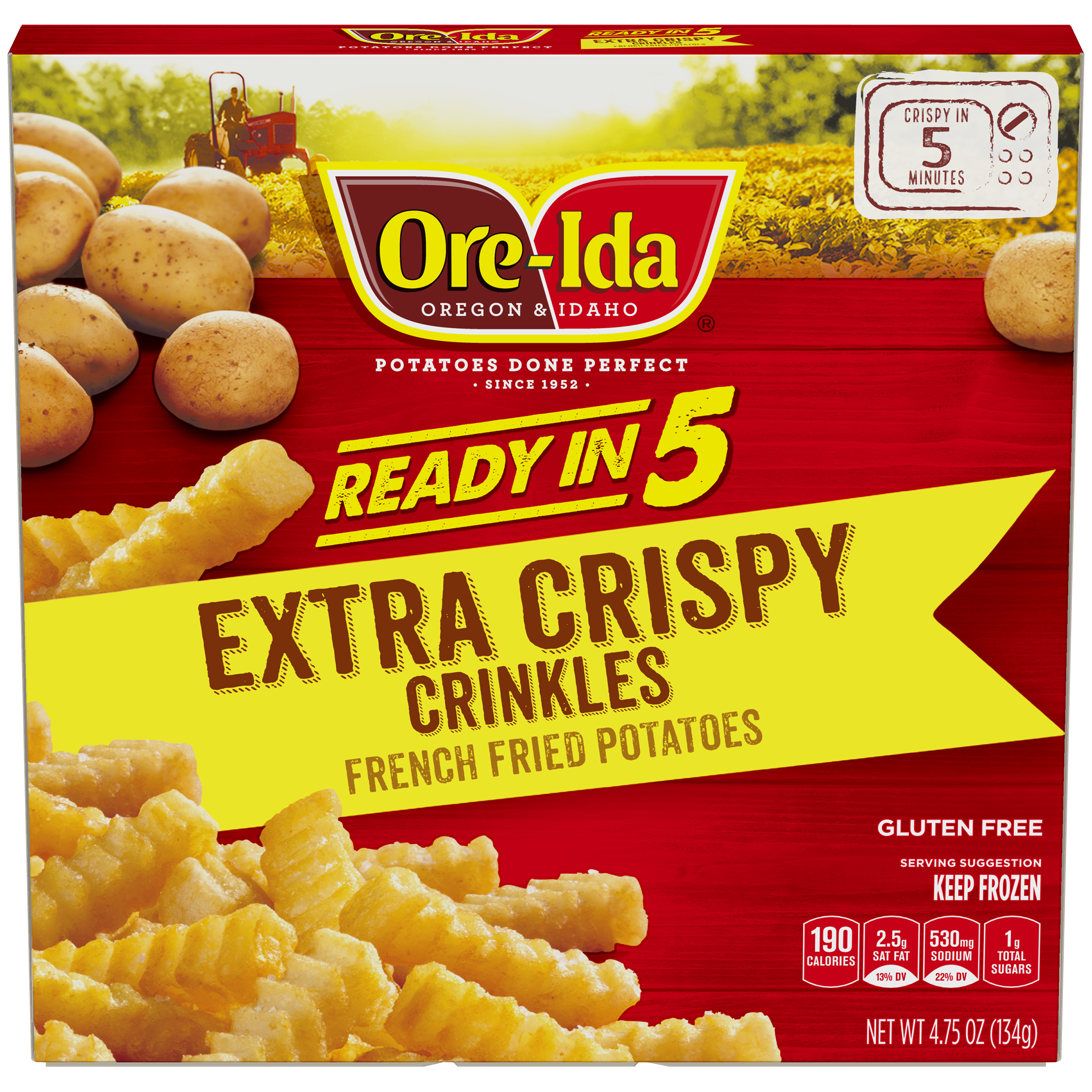 Ore Ida Ready In 5 Extra Crispy Crinkles Fries 4 75 Oz Box