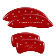 MGP 4 Caliper Covers Engraved Front & Rear Cursive/Charger Red finish silver ch