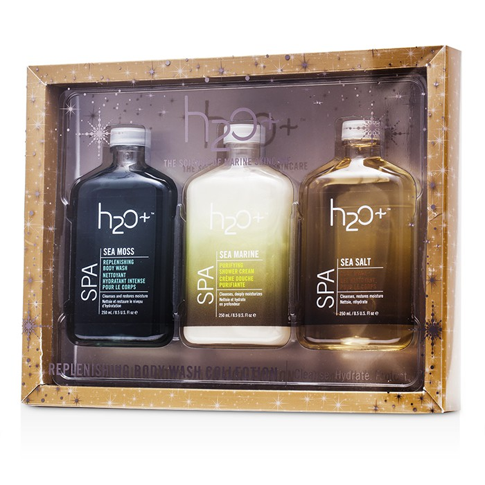 H2O+ - Sea Moss Replenishing Body Wash Collection: Body Wash 250ml + Shower Cream 250ml + Replenishing Body Wash 250ml -3pcs