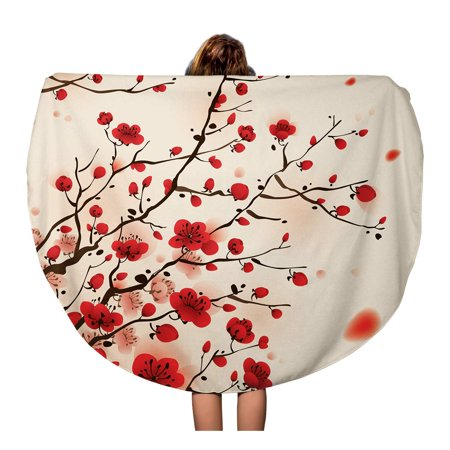 POGLIP 60 inch Round Beach Towel Blanket Red Pattern Oriental Painting Plum Blossom in Spring Flower Travel Circle Circular Towels Mat Tapestry Beach Throw - image 1 of 2
