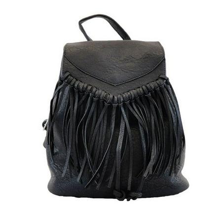 - Hearty Trendy Girls Women Black Fringe Faux Leather Backpack