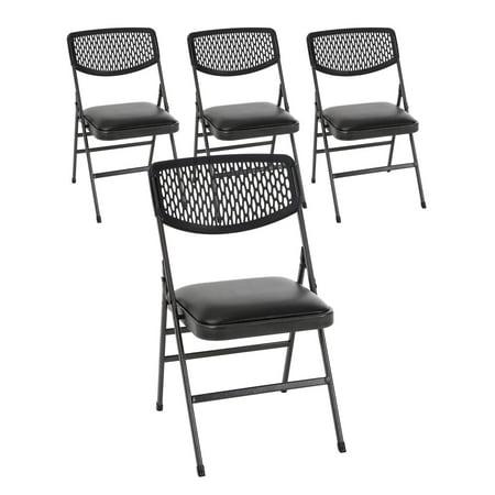 COSCO Commercial Vinyl Padded Seat Folding Chair with Resin Mesh Back, Black Vinyl & Hammertone Frame, 4-pack