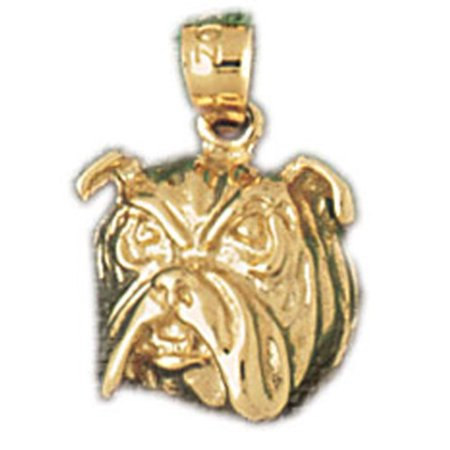 14K Yellow Gold Bulldog Pendant   17 Mm