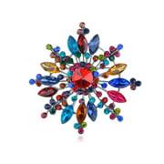 Colorful Crystal Rhinestone Silver Tone Sunburst Snowflake Shaped Pin Brooch