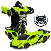 Best Choice Products 1:16 Scale Transforming RC Remote Control Robot Drifting Race Car Toy w/ LED Lights - Green