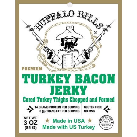 Buffalo Bills 3oz Premium Turkey Bacon Jerky Pack (real wood smoked - gluten free and no