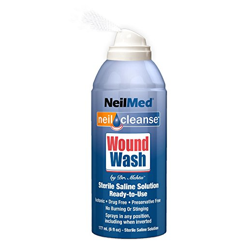 2 Pack NeilMed Neil Cleanse Wound Wash First Aid Sterile Saline Solution 6oz Eac