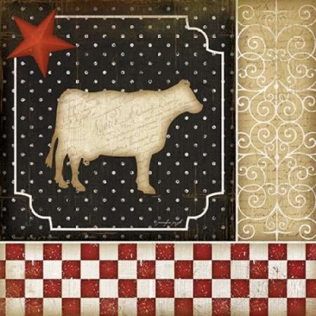 Jennifer Pugh Stretched Canvas Art - Country Kitchen - Cow - Small 12 x 12 inch Wall Art Decor Size.