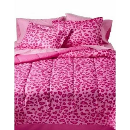 Full Bed In Bag Pink Cheetah Comforter Sheet Sham Reversible Leopard