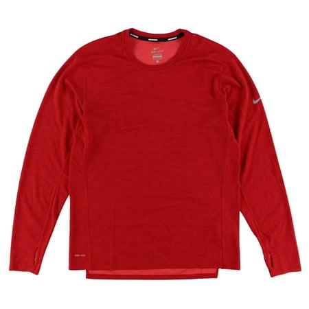 Nike Mens Dri FIT Wool Crew Running Shirt Red