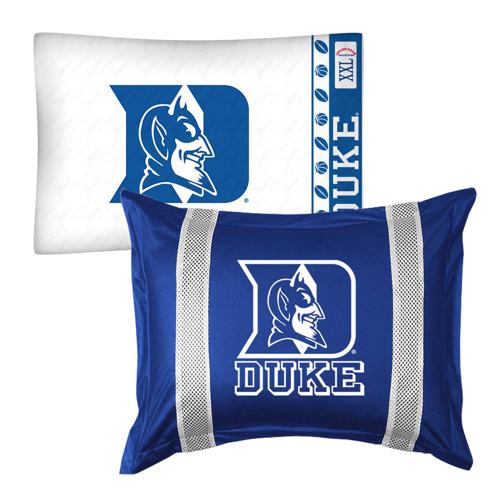 2pc NCAA Duke Blue Devils Pillowcase and Pillow Sham Set College Team Logo Bedding Accessories