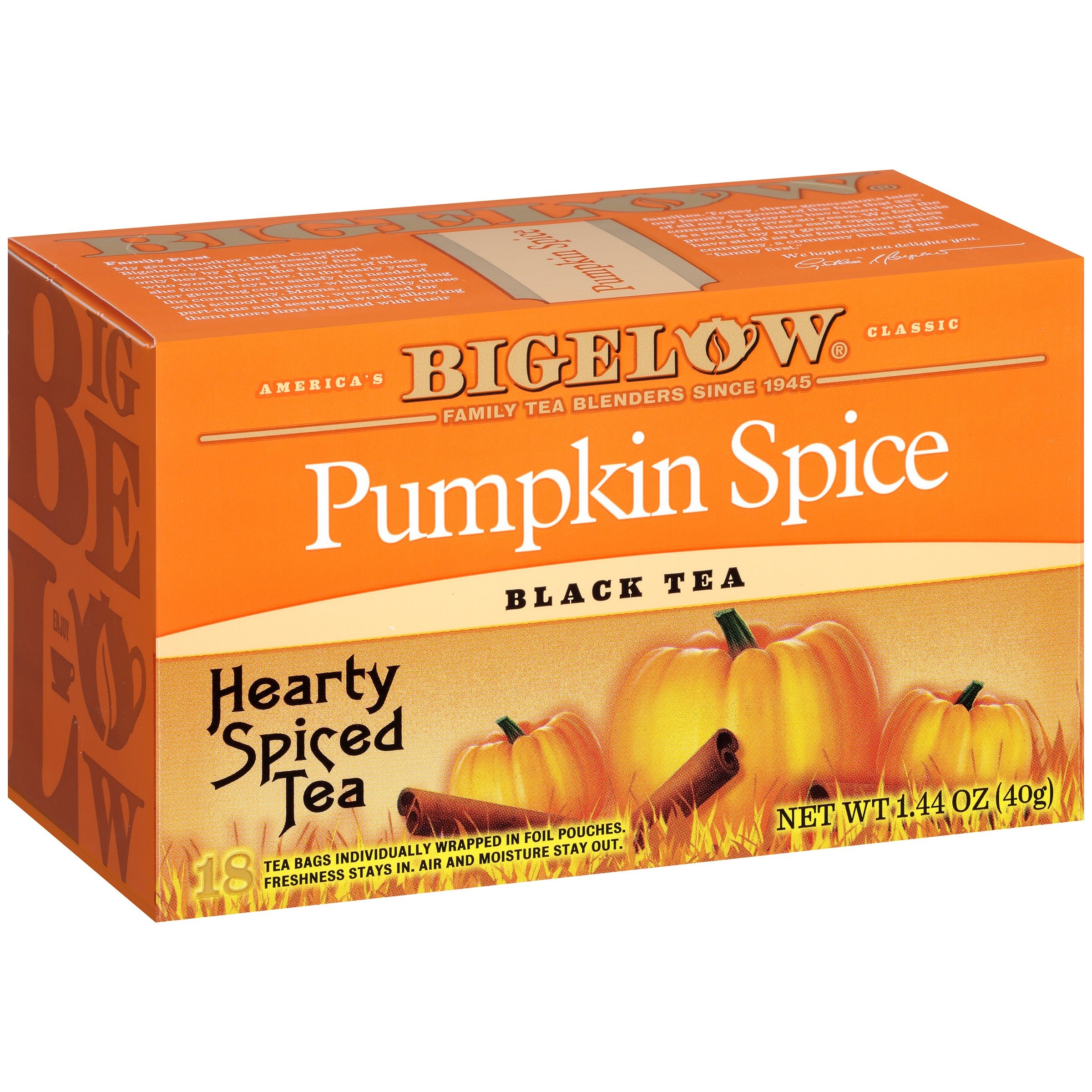 (3 Pack) Bigelow Pumpkin Spice Black Tea 1.44 oz. Box