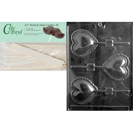 Cybrtrayd 45St50-V032 Large Lace Heart Lolly Valentine Chocolate Candy Mold with 50 4.5-Inch Lollipop Sticks