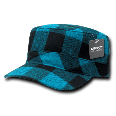 DECKY Plaid Flannel Flat Top BDU Military Patrol Hat Hats Cap For Men Women Teal - Flannel Cap