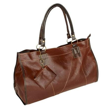 XXK166-TAN Generous Casual Tan Double Handle Leatherette Satchel Hobo Handbag with Shoulder Strap (Double Handle Handbags)