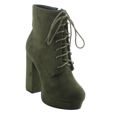 EI91 Women's Lace Up Front Zipper Side Chunky Heel Ankle Booties