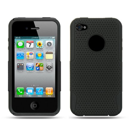 - Insten Mesh Dual Layer Hybrid Rubberized Hard Plastic/Soft Silicone Case Cover For Apple iPhone 4 - Black