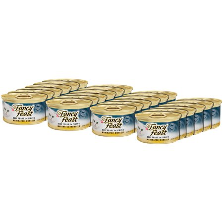 (24 Pack) Fancy Feast Marinated Morsels Beef Feast in Gravy Wet Cat Food, 3 oz. Cans