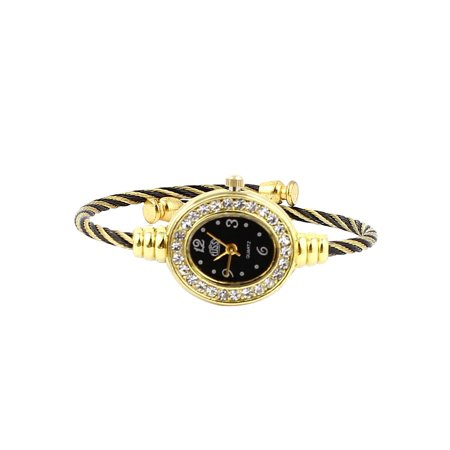 Women Twisted Band Bracelet Bangle Rhinestone Quartz Wrist Watch Black Gold Tone Bracelet Style Wrist Watch