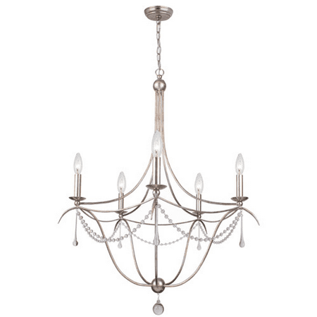 Chandeliers 5 Light With Antique Silver Clear Glass Beads & Murano Crystal Wrought Iron 28 inch 300 Watts - World of Lighting