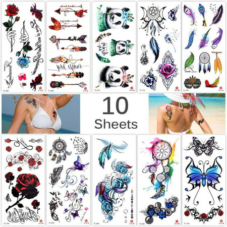 TRICOLOUR 10 Sheets Temp Body Art Temporary Tattoos Fake Tattoo for Women Kids Butterfly Flower Rose Feather Pattern Waterproof Stickers