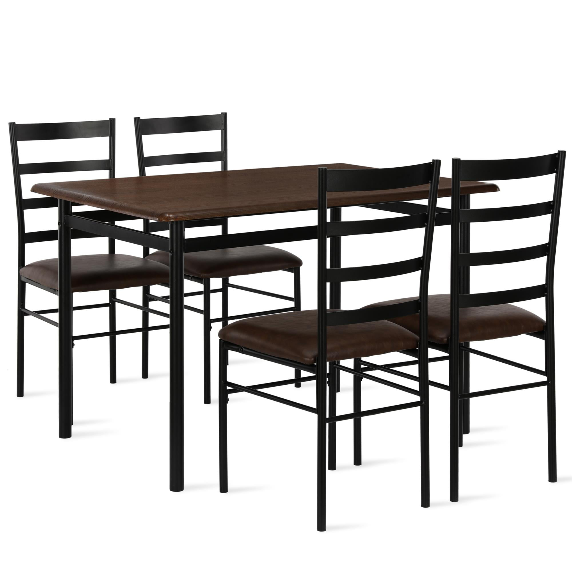 Mainstays 5 Piece Wood Metal Dining Room Set Canyon Walnut Black Walmart Com Walmart Com