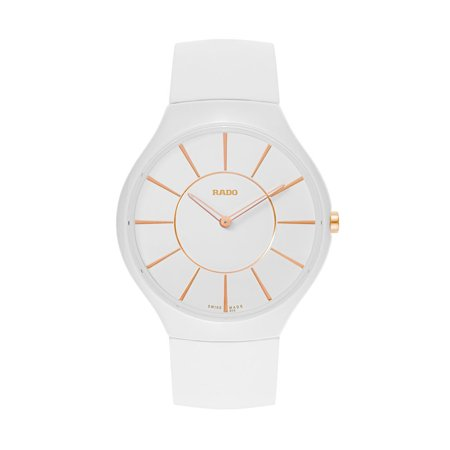 Rado True Thinline White Ceramic Womens Strap Watch Quartz R27957109