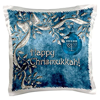 3dRose Happy Chrismukkah Blue and Silver Ornament and Menorah, Pillow Case, 16 by 16-inch