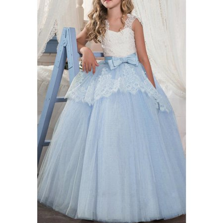 Kids Girls Lace Decorated Silk Bow Wedding - Lace Silk Dress
