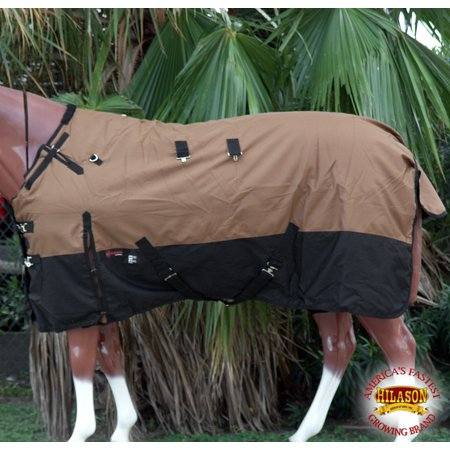 "68"" HILASON 1200D RIPSTOP WATERPROOF TURNOUT WINTER HORSE BLANKET BROWN BLACK"