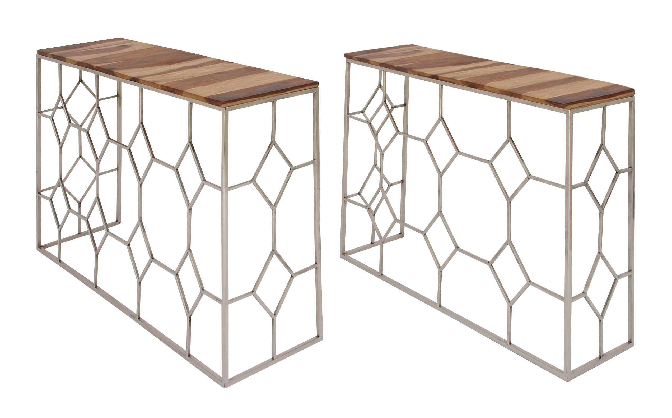 Decmode Set Of 2 Contemporary 40 And 47 Inch Rectangular Rosewood And Iron  Geometric Designed Nesting
