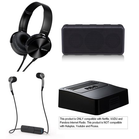 Tech & Gadget Electronics Gift Box Audio TV Video Bundle Holiday Christmas - Sonyy Extra Bass Headphones + Wireless Speaker, Netflix Player, Earbuds for iPhone & Android (Open Box - Like New) ()