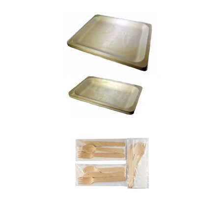 Camping Kit-30ct Disposable Wooden Plates and Cutlery with Napkins (Pack of 30)](Paper Plates And Plastic Cutlery)