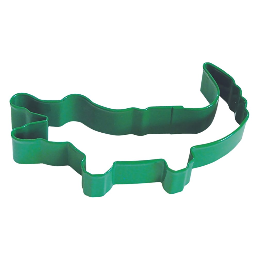 Alligator Bright Green Poly Resin Coated Tin Cookie Cutter 4.5 in - R&M Cookie Cutters - Tin Plate Steel