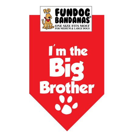 Fun Dog Bandana - I'm the Big Brother - One Size Fits Most for Med to Lg Dogs, red pet - Halloween Dog Bandanas Uk