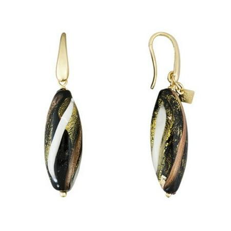 Murano Designer Earrings (Multicolor Murano Glass Bead 18K Yellow Gold Over Bronze)