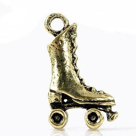 Antique Bronze Roller Skates Charm Pendant for Necklace](Light Up Roller Skate Necklace)