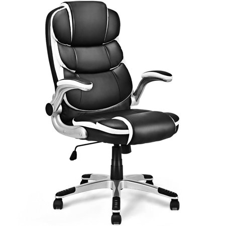 Costway PU Leather High Back Executive Office Chair Swivel Desk Task Computer