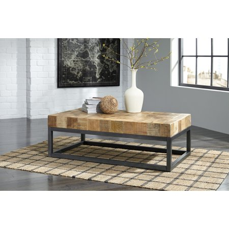 Ashley Furniture Prinico Butcher Block Pattern Cocktail Table With Metal Base