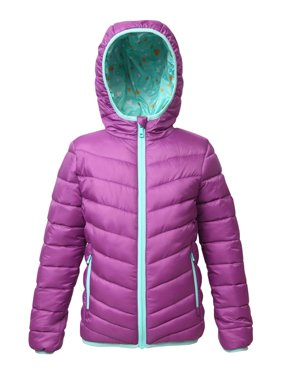 Rokka&Rolla Girls' Reversible Hooded Lightweight Water-Resistant Padded Puffer Jacket sizes 4-18