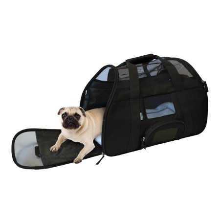 - Portable Comfort Soft Sided Airline Approved Dog and Cat Travel Carrier Bag and for Small Animals Tote w/ Built-in Collar Buckle & Removable Fleece Bed by KritterWorld