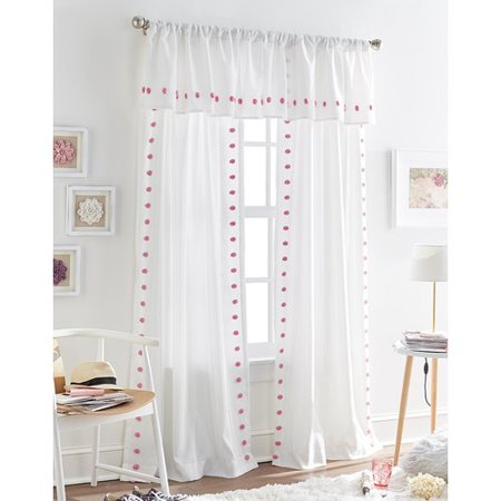 Harriet Bee Sasso Tufted Polka Dot Sheer Rod Pocket Single Curtain Panel