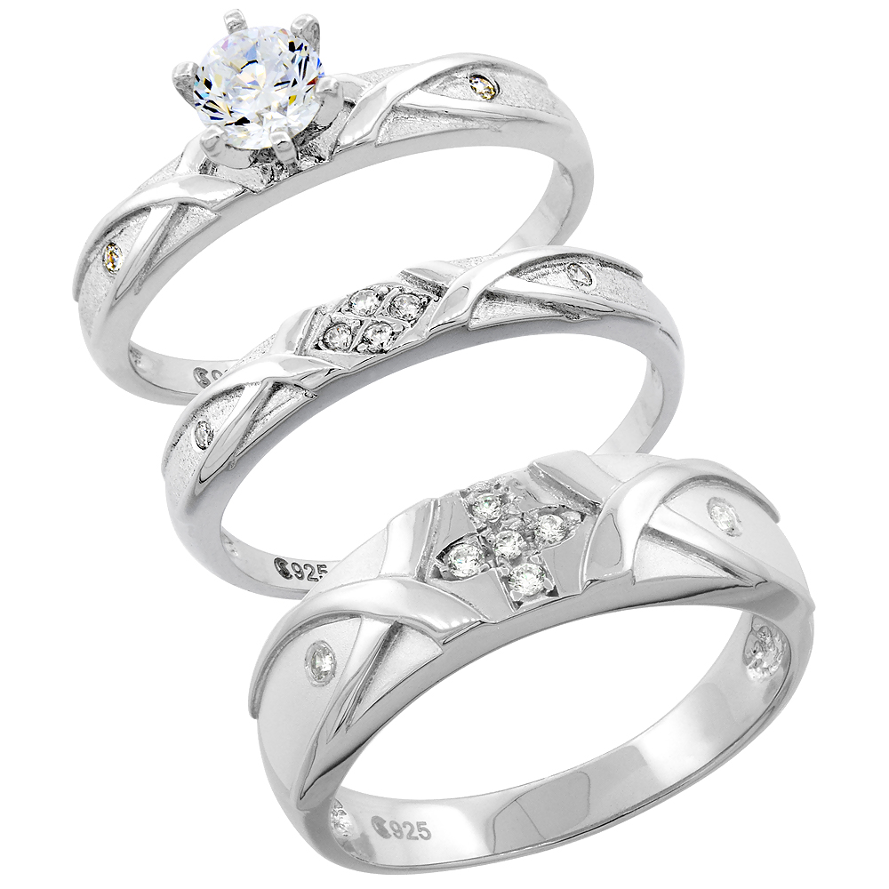 Sterling Silver Cubic Zirconia Trio Engagement Wedding Ring Set for Him and Her, men's band 1/4 inch wide, L 5 - 10 & M 8 - 14