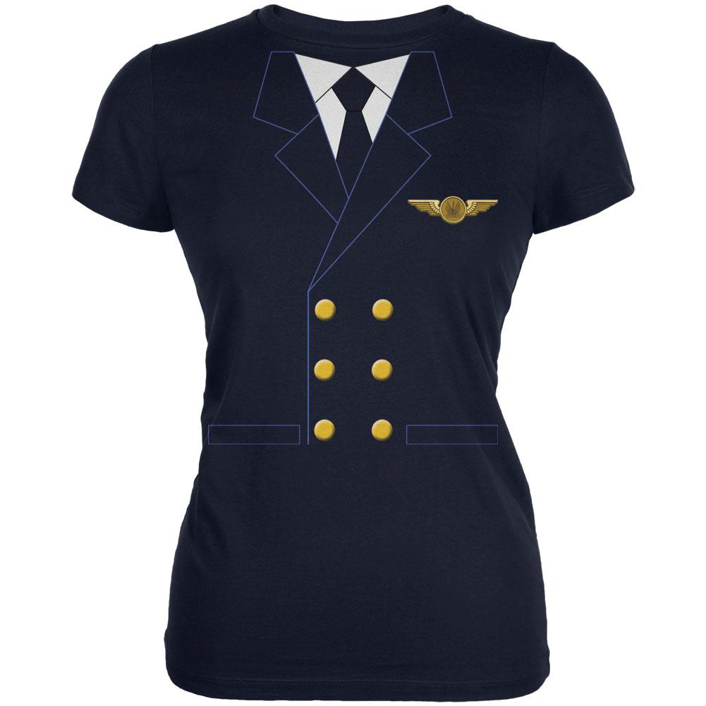 Halloween Airline Airplane Pilot Navy Juniors Soft T-Shirt