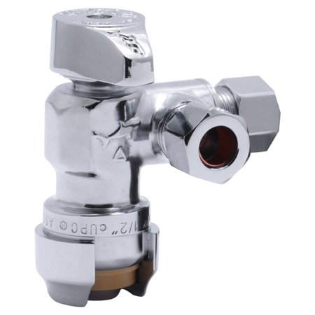 SharkBite 25558LF 1/2-Inch X 3/8-Inch X 3/8-Inch Dual Compression Outlet Shut Off Valve
