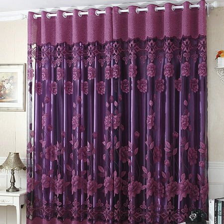 NK Grommet Tulle Drape Panel Curtain Sheer Scarf Valances Divider Door Window Room Decorative Luxury Floral 1x2.5m Purple Pink - Pink And Purple Room Ideas