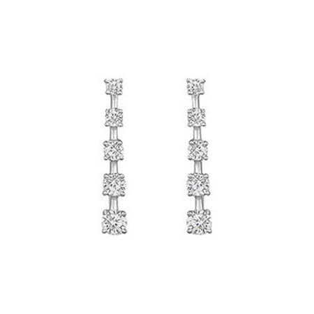 Diamond Journey Earrings : 14K White Gold - 2.00 CT Diamonds